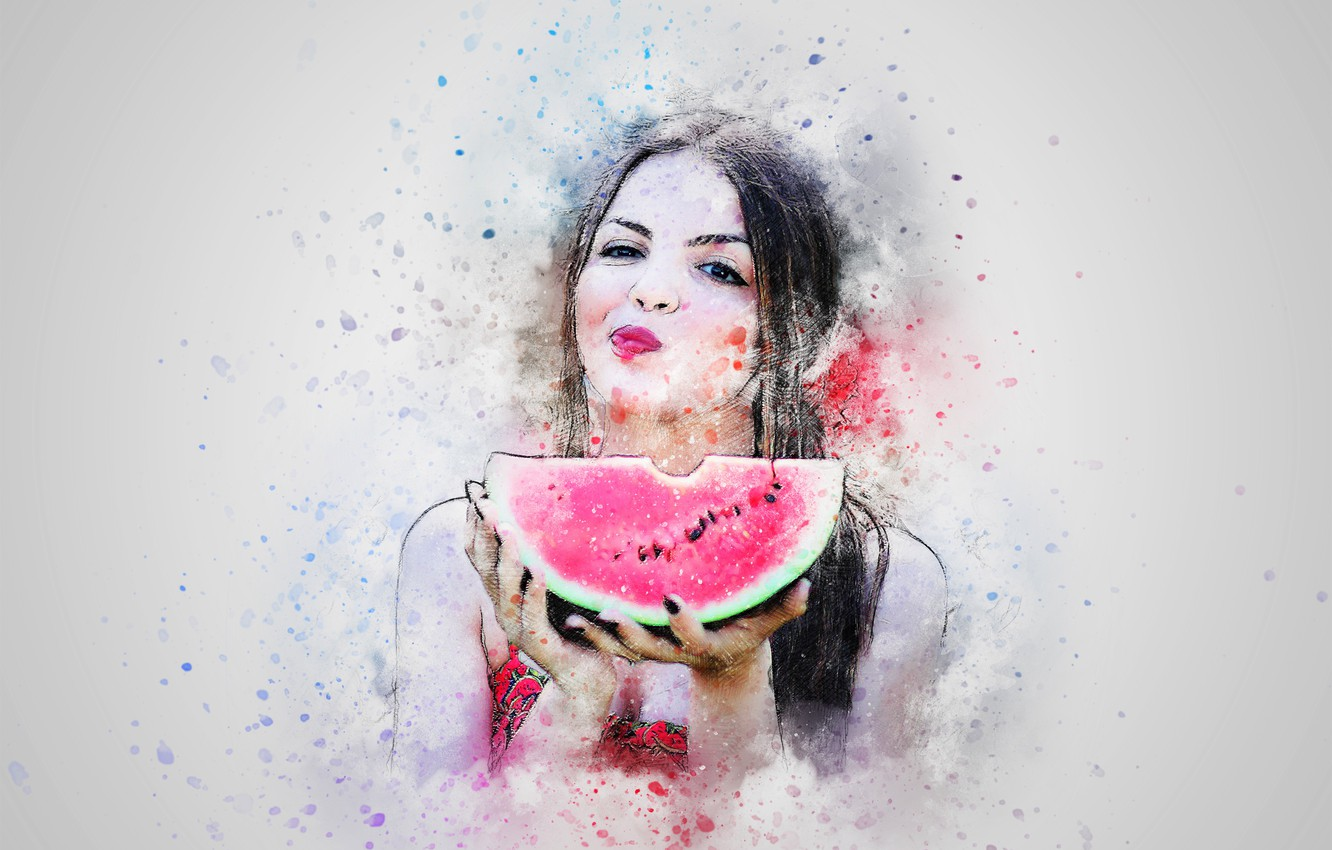 Photo wallpaper background, figure, watermelon, hunk, girl art
