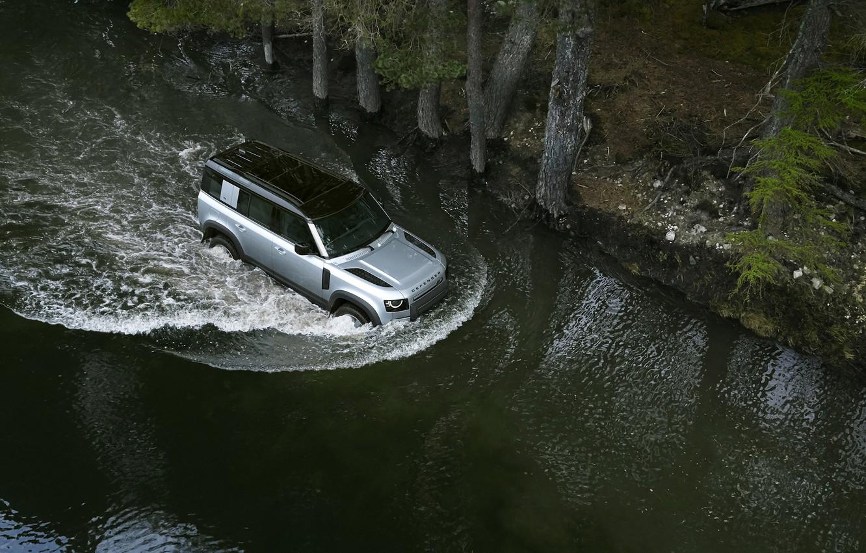 Photo wallpaper auto, water, river, Land Rover, Range Rover, Defender, 110