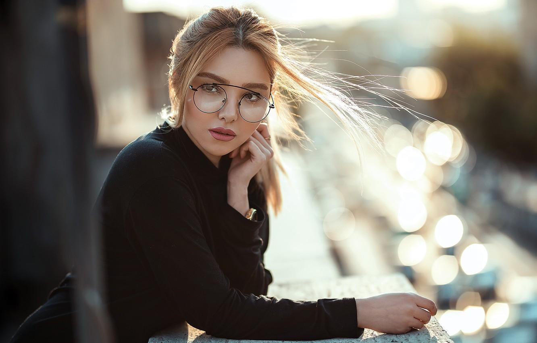 Photo wallpaper look, girl, the wind, hair, glasses, Pagani Ali