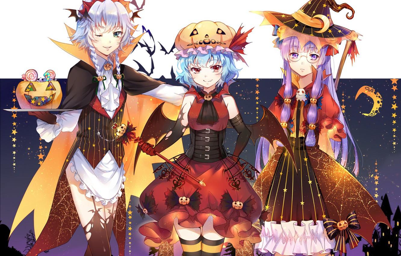 Photo wallpaper girls, holiday, anime, art, touhou, Halloween