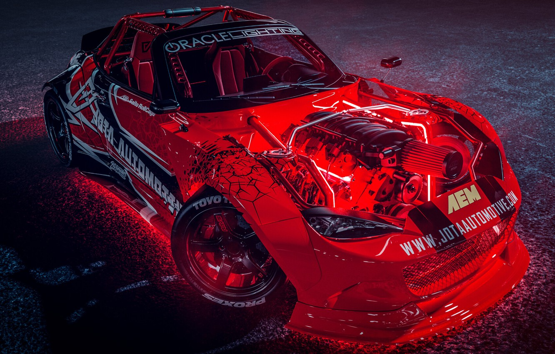 Photo wallpaper Red, Auto, Machine, Tuning, Drift, Car, Auto, Render, Miata, Rendering, MX-5, Mazda MX-5, Transport & …