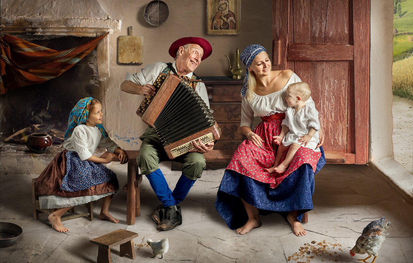 Photo wallpaper children, house, people, woman, family, girl, male, grandpa, mom, baby, accordion, mother, chickens, Dmitry Usanin, …