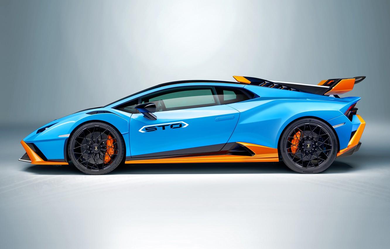 Photo wallpaper Lamborghini, blue, orange, huracan, sto, metal background