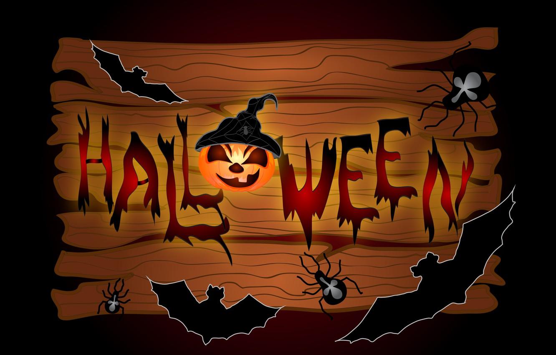 Photo wallpaper spiders, pumpkin, Halloween, bats, 31 Oct