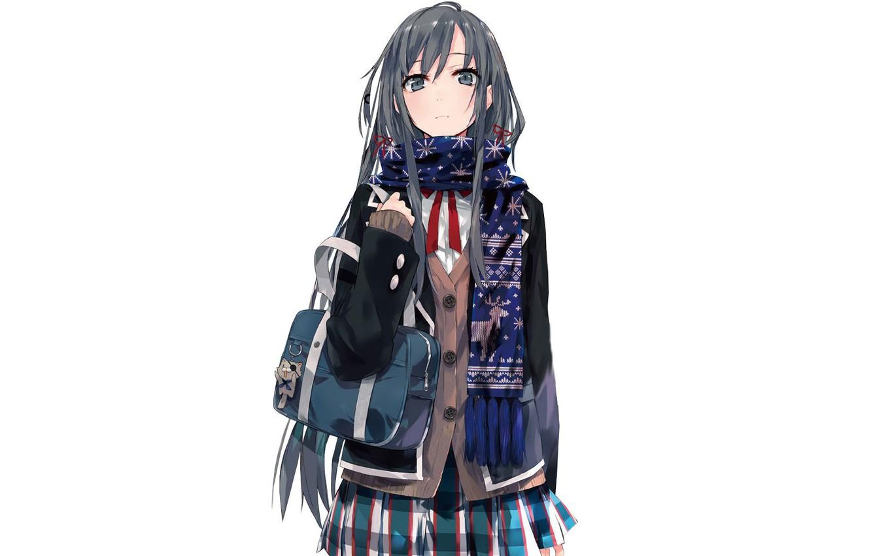 Photo wallpaper scarf, white background, schoolgirl, bag, jacket, keychain, long hair, art, skirt in a cage, Yukinoshita ...
