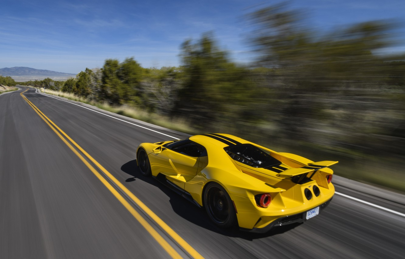 Photo wallpaper road, speed, Ford, supercar, Ford GT, 2017