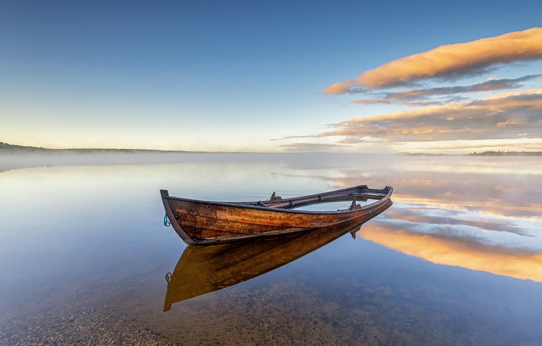 Photo wallpaper the sky, lake, boat