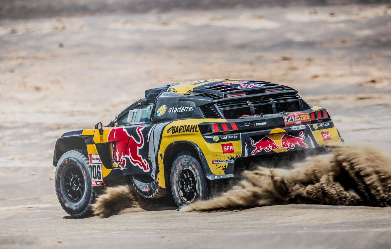Photo wallpaper Sand, Sport, Machine, Speed, Race, Peugeot, Red Bull, Rally, Dakar, Dakar, SUV, Rally, Sport, The …
