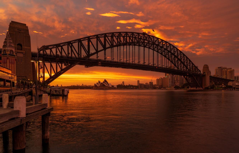 Photo wallpaper sunset, bridge, Australia, Bay, Sydney, Australia, Sydney, Sydney Harbour Bridge, Harbour Bridge, Bay Port Jackson, …