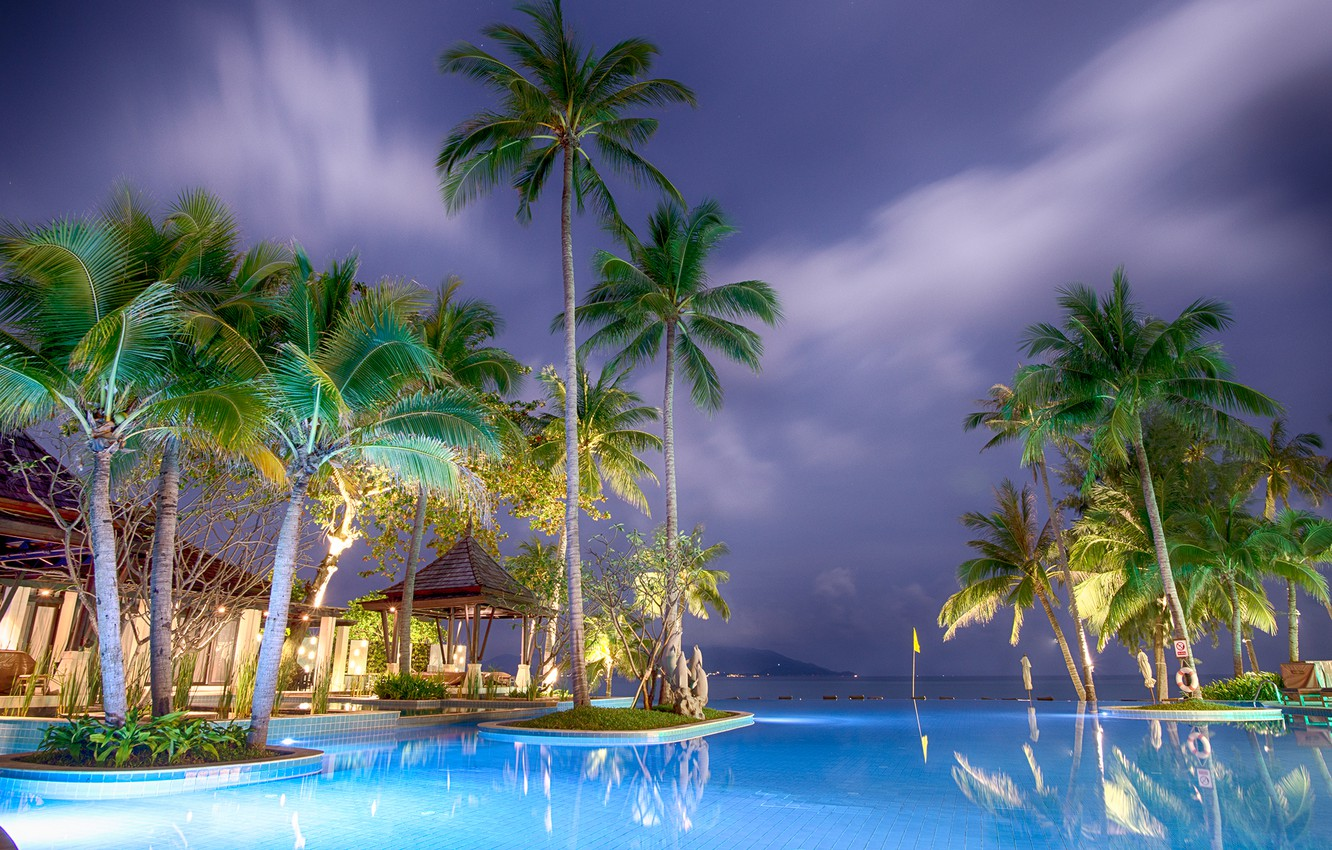 Photo wallpaper sea, landscape, night, nature, palm trees, pool, backlight, Asia, the hotel, resort