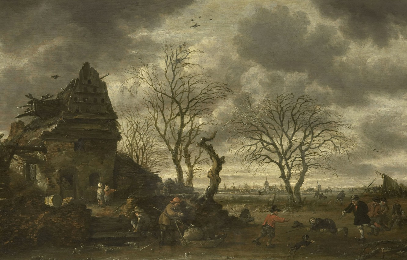 Photo wallpaper landscape, oil, Winter, picture, Salomon Rombouts, 1702, Salomon Rombouts