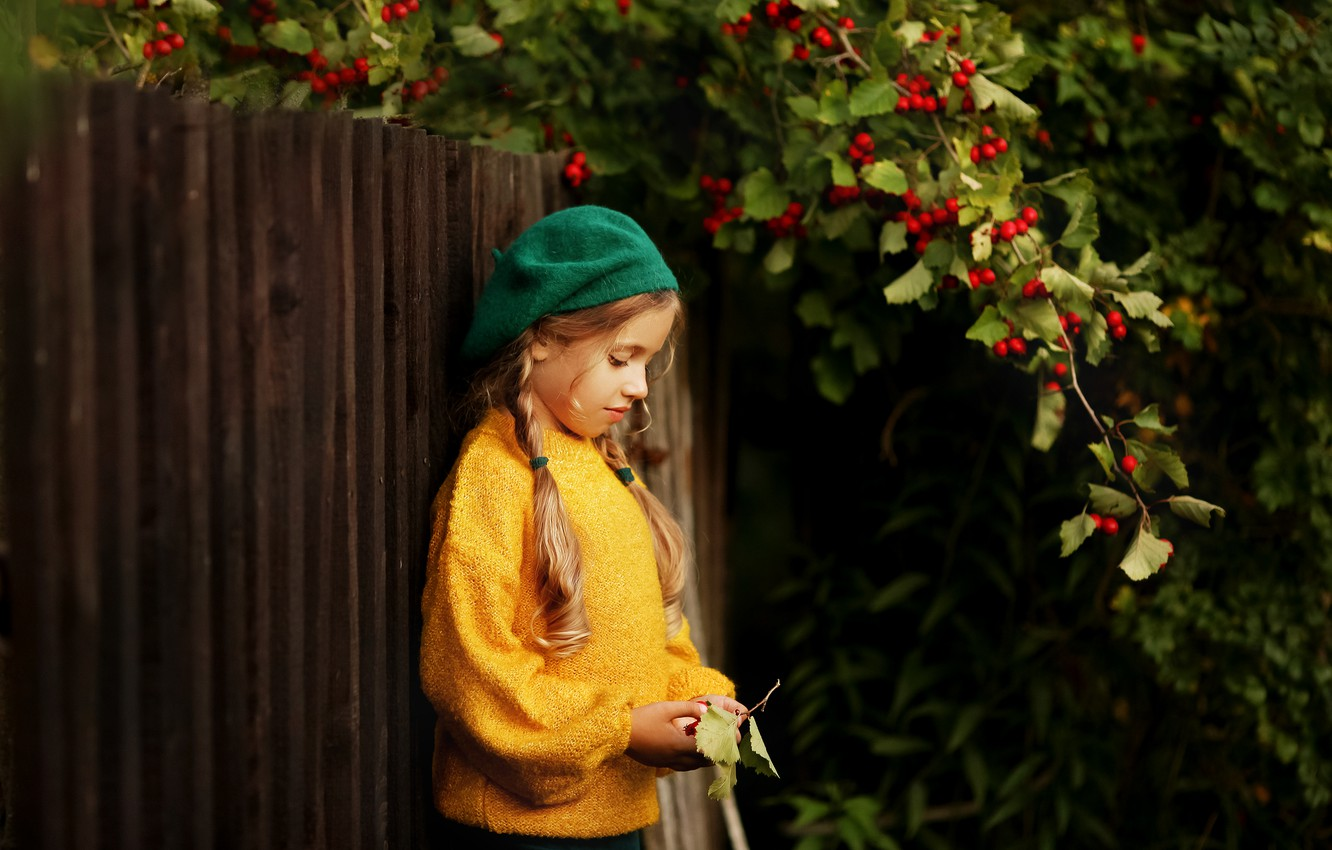 Photo wallpaper branches, nature, berries, the fence, girl, braids, child, takes, jumper, hawthorn, Valeria Kasperova