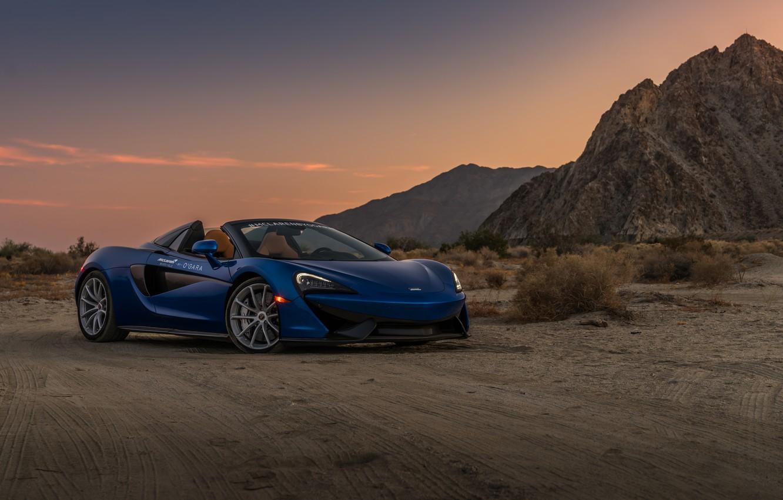 Photo wallpaper sunset, desert, McLaren, the evening, supercar, Spider, 570S
