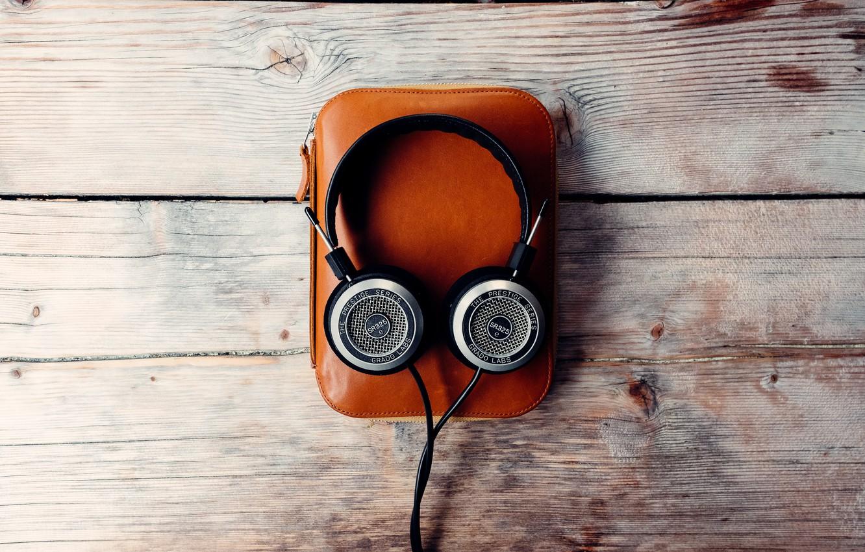 Photo wallpaper music, headphones, bag, wooden background
