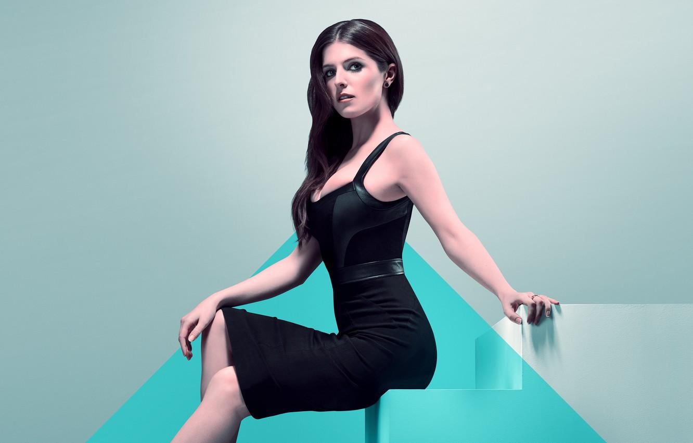 Photo wallpaper girl, dress, brunette, beauty, sitting, detective, Thriller, poster, crime, in black, Anna Kendrick, Anna Kendrick, …
