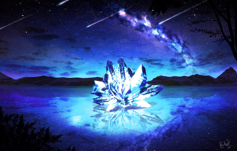 Photo wallpaper the sky, crystal, water, night, fantasy, the milky way