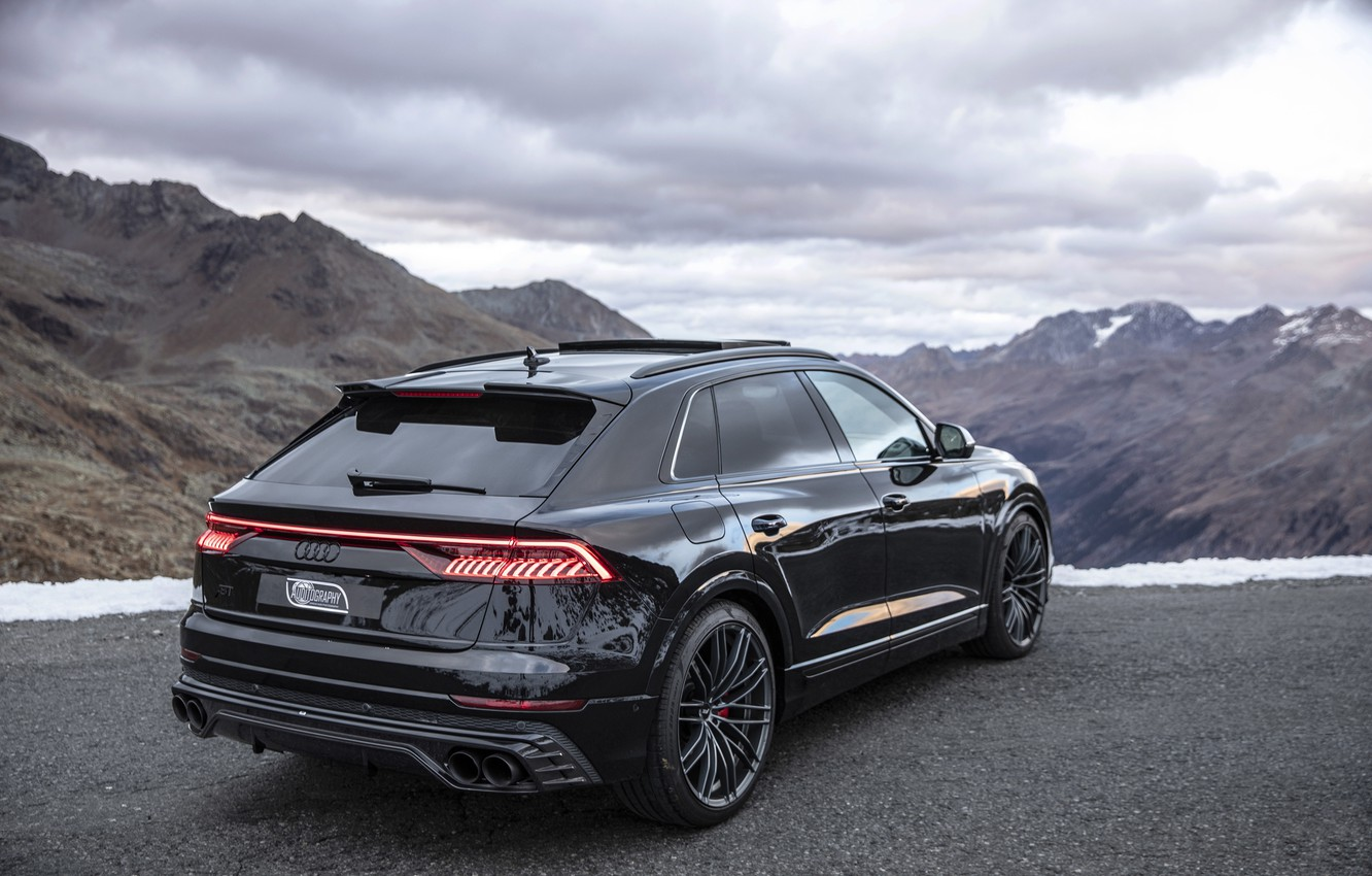 Photo wallpaper mountains, Audi, TDI, rear view, crossover, ABBOT, 2019, SQ8