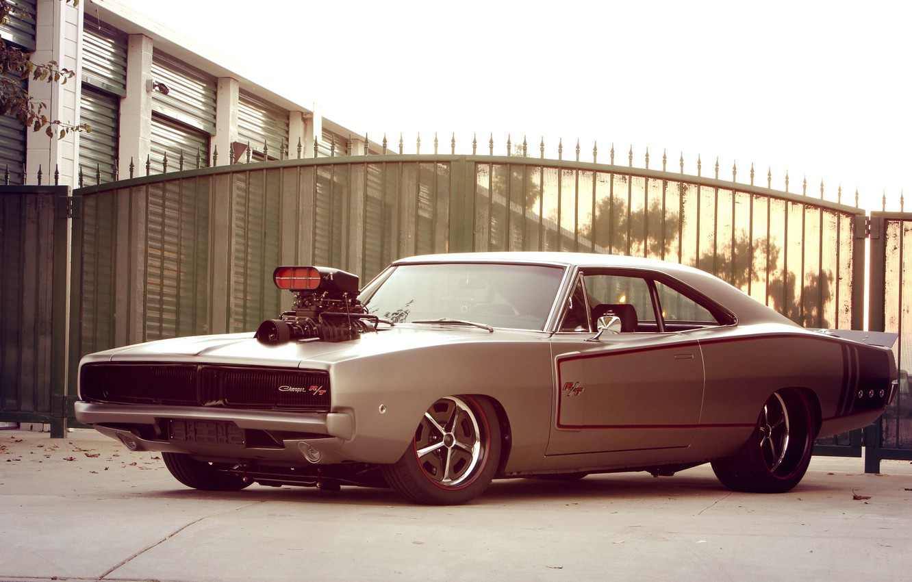 Photo wallpaper Muscle, Dodge, Charger, Engine, Super Charger