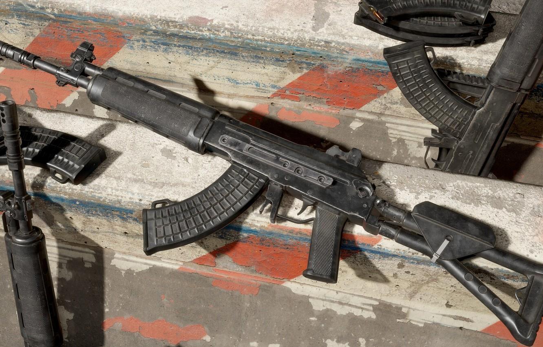 Photo wallpaper rendering, weapons, tuning, Machine, Gun, weapon, render, render, 3d art, Assault rifle, Russian, assault rifle, …