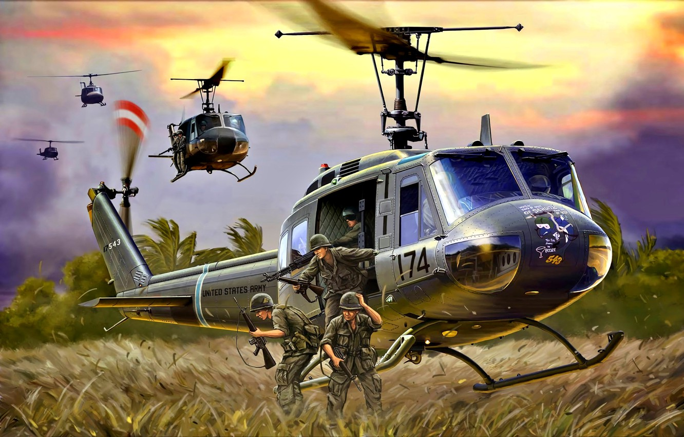 Wallpaper M16, Helicopter, US Army, Landing, M60, UH-1D