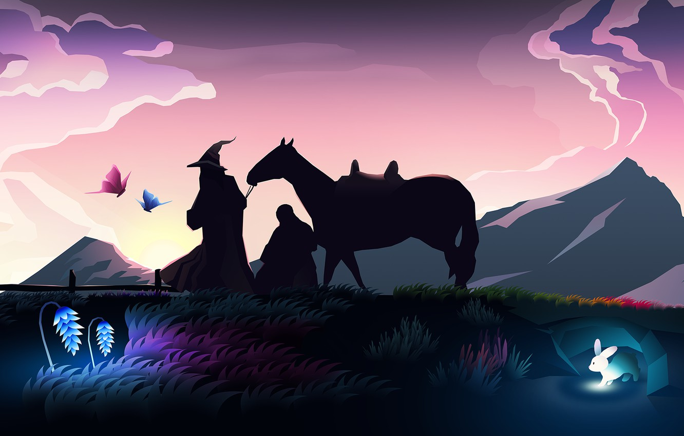 Photo wallpaper colorful, fantasy, hat, rabbit, art, mountains, sunrise, The Lord of the Rings, horse, digital art, …