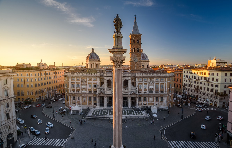 Photo wallpaper building, home, area, Rome, Italy, Church, Italy, column, Rome, Basilica, Basilica di Santa Maria Maggiore, …