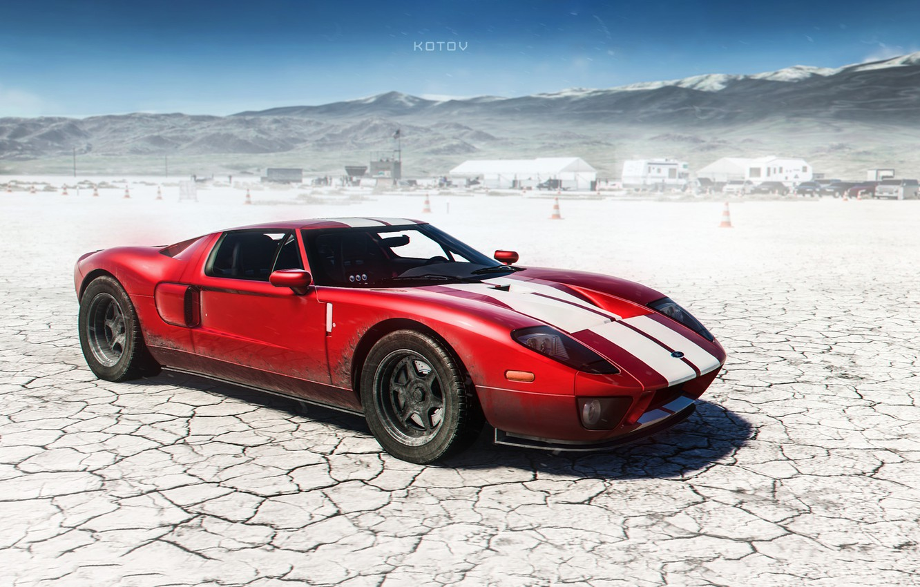 Photo wallpaper Ford, Red, Auto, The game, Machine, Ford GT, Art, Supercar, Game, Sports car, The Crew, ...