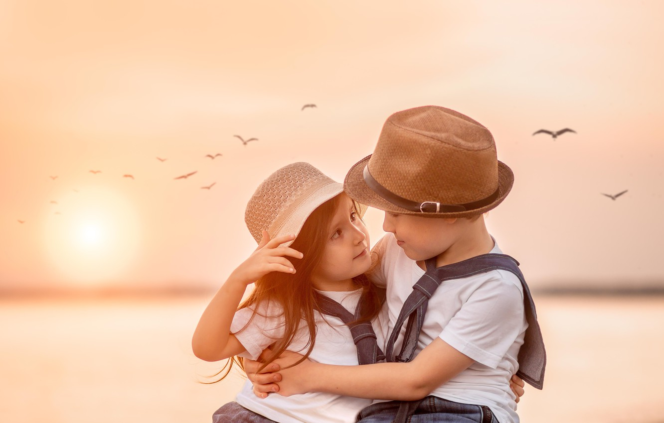 Photo wallpaper look, sunset, birds, children, boy, friendship, girl, a couple, friends, Yulia Tkachenko