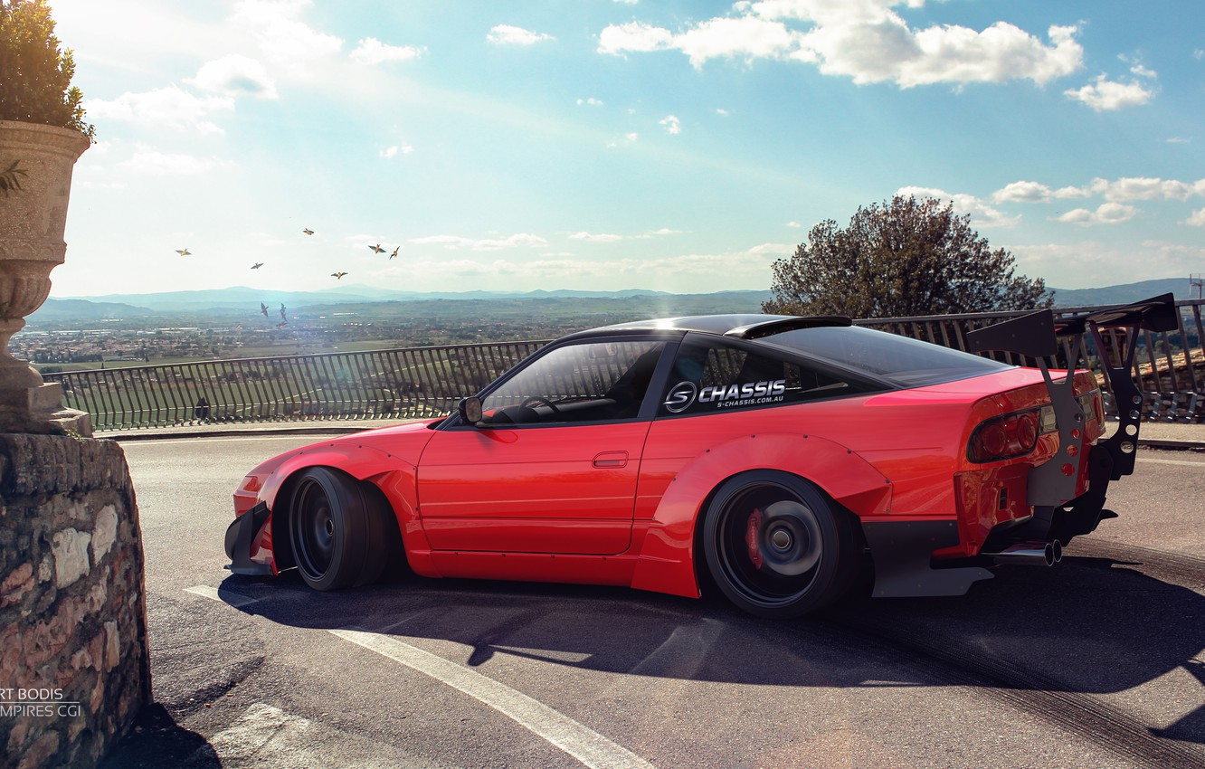 Photo wallpaper Red, Machine, Tuning, Nissan, Car, Landscape, Render, Rendering, S13, Sports car, Red, Transport & Vehicles, …