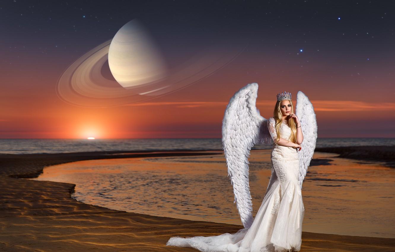 Photo wallpaper sea, girl, sunset, pose, style, planet, wings, angel, Saturn, crown, dress, Renat Khismatulin