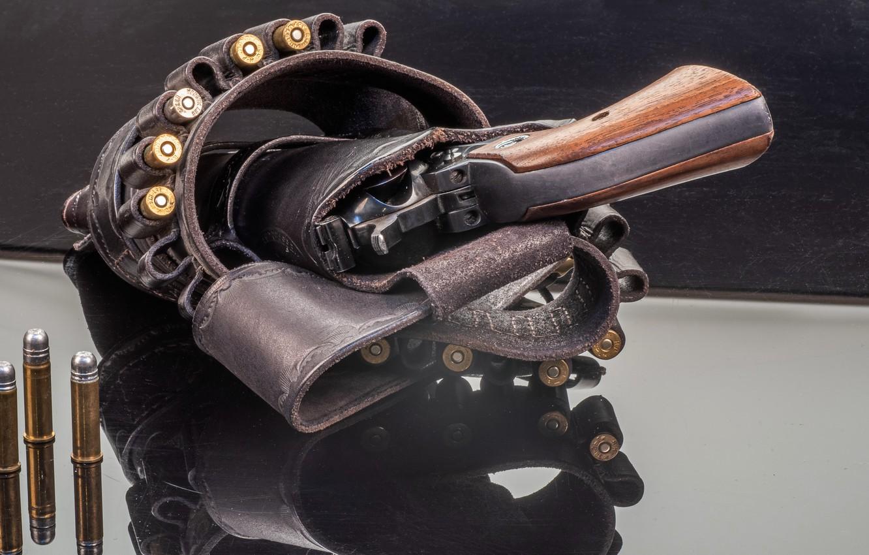 Photo wallpaper weapons, cartridges, revolver