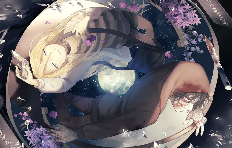 Photo wallpaper girl, anime, pair, guy, Angel bloodshed, Satsuriku no Tenshi