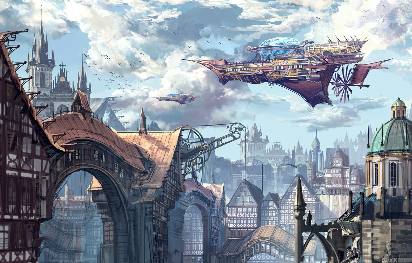 Photo wallpaper Figure, The city, Building, City, Fantasy, Art, Fiction, Concept Art, Steampunk, Steampunk, Ship, Thomas Chamberlain ...