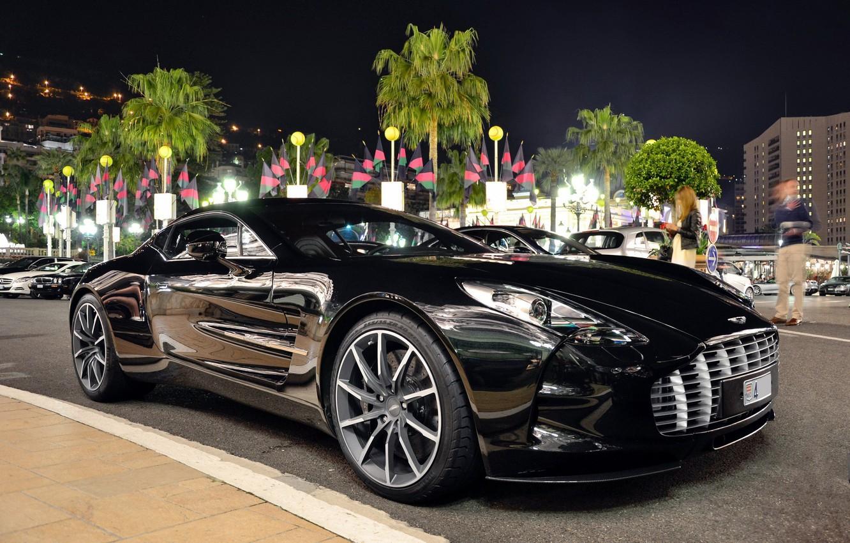 Photo wallpaper black, Aston Martin, supercar, night city, one-77
