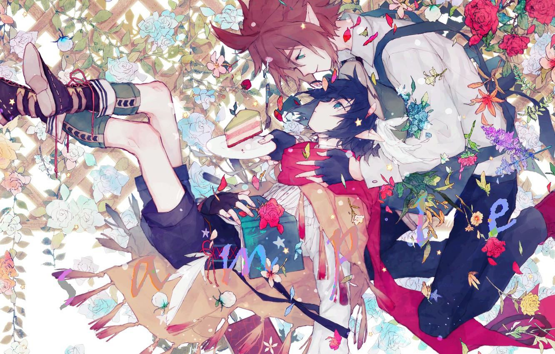 Photo wallpaper elf, roses, cake, two, AOTU Shijie