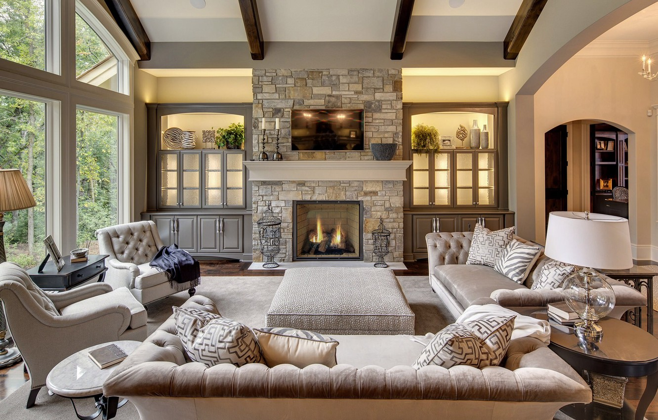 Photo wallpaper Villa, interior, fireplace, living room, rustic family room, stone fireplace