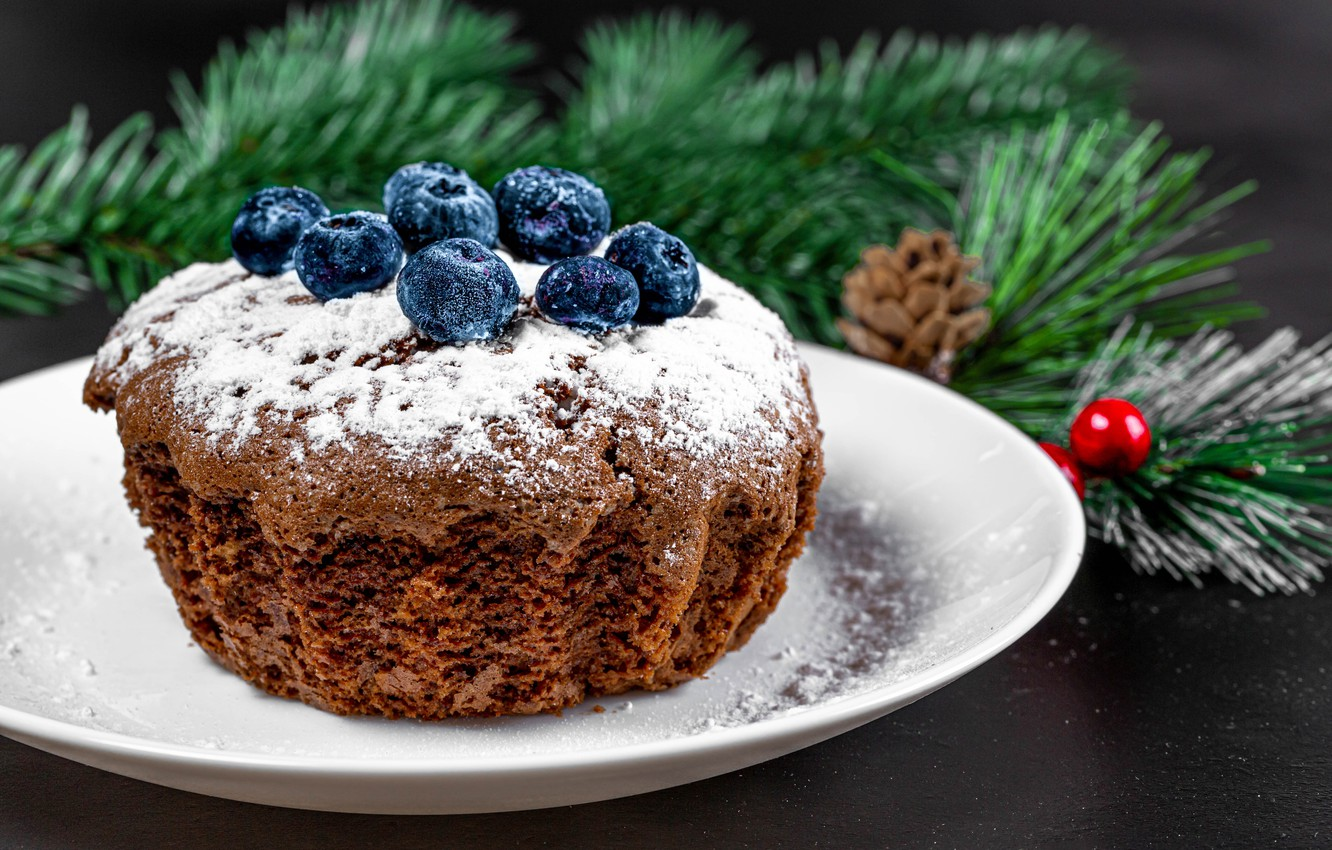 Photo wallpaper branches, berries, plate, Christmas, New year, cupcake, powdered sugar, blueberries