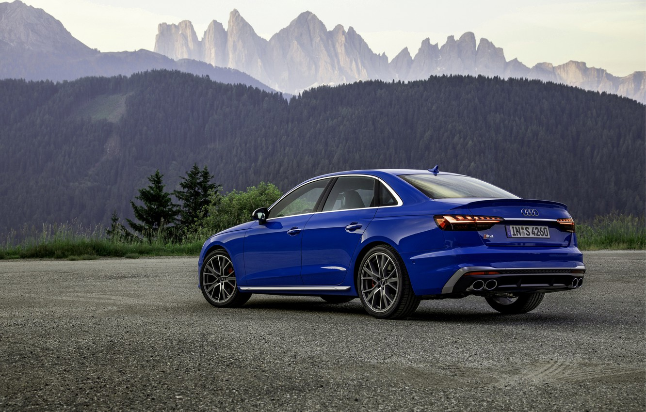 Photo wallpaper blue, Audi, sedan, side, Audi A4, Audi S4, 2019