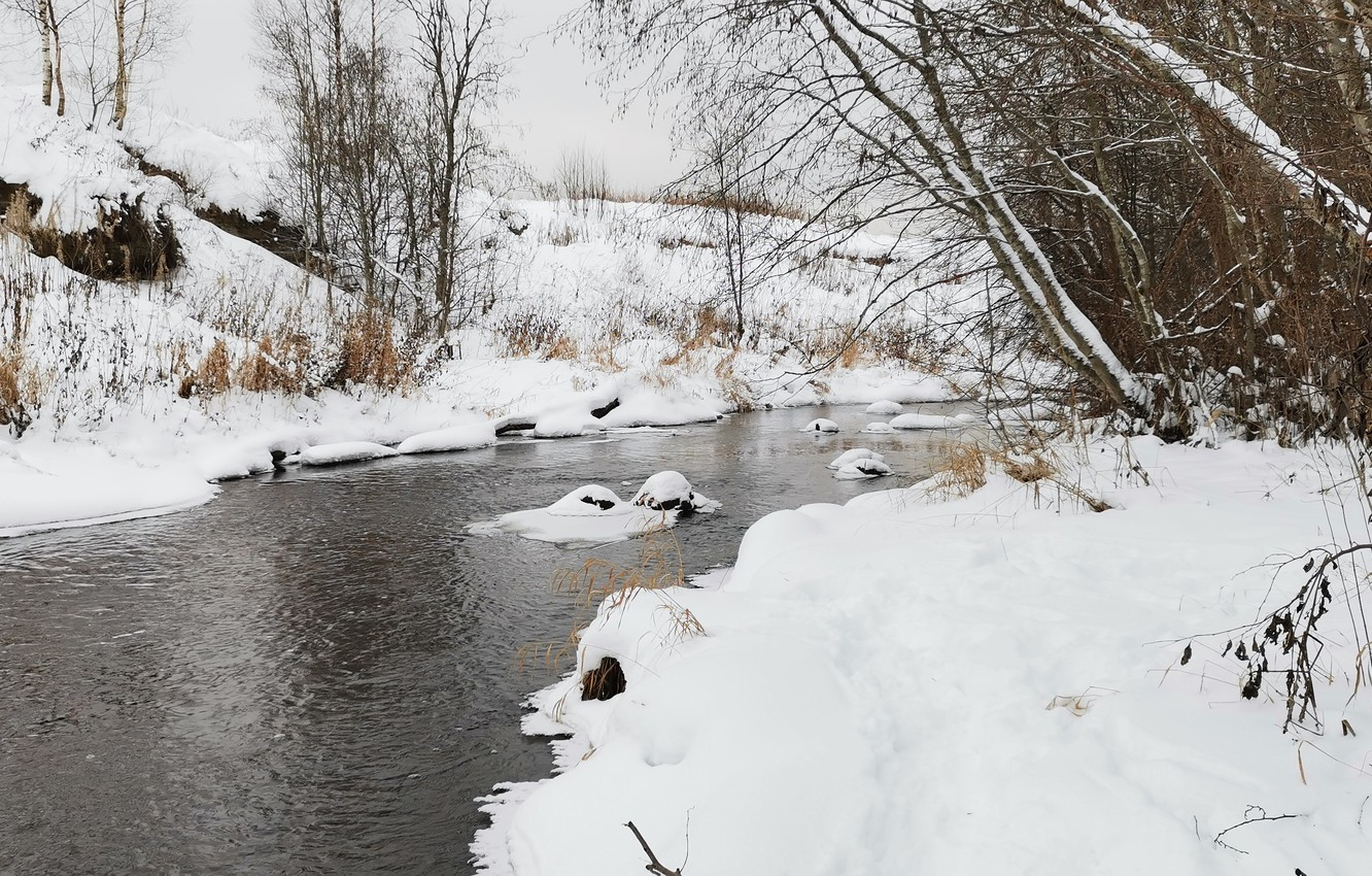 Photo wallpaper Water, Nature, Winter, Trees, River, Snow, Stones, Stream, River, Winter Trees, The River Naziya