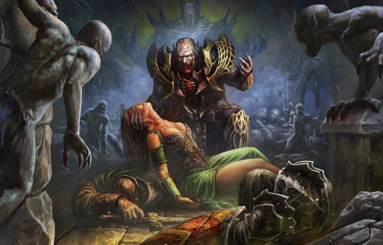 Photo wallpaper dark, girl, sword, horror, blood, fantasy, undead, armor, artwork, warriors, shield, fantasy art, Demon, creatures, …