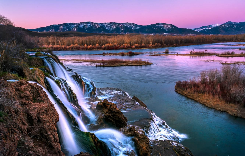 Photo wallpaper mountains, river, waterfall, cascade, The Snake River, Snake River, Idaho, Idaho, Swan Valley, Fall Creek …
