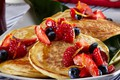 Picture berries, strawberry, plate, honey, pancakes, cakes, pancakes
