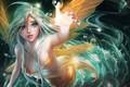 Picture girl, bubbles, fantasy, green eyes, anime, digital art, Mermaid, artwork, fantasy art, creature, anime girl, ...