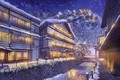 Picture Winter, Mountains, Night, The city, Snow, Street, Landscape