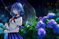 Picture girl, flowers, umbrella, rain, umbrella