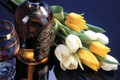 Picture flowers, reflection, glass, bottle, bouquet, alcohol, tulips, white, whiskey, yellow