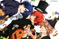 Picture joy, mask, red, sweets, Halloween, pumpkin, gloves, jacket, blue hair, green eyes, cookies, witch hat, ...