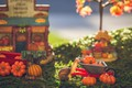 Picture autumn, macro, toys, snail, garden, harvest, pumpkin, truck, the garden, bokeh, toy