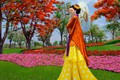 Picture girl, flowers, model, umbrella, Japan, garden, fashion